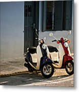 Motorbikes Parked On The Road Metal Print