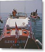 Motorboats In Antibes Metal Print