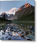 Mount Edith Cavell And Cavell Lake Metal Print