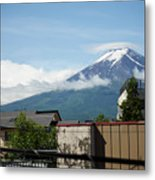 Mount Fuyji From A Distance With Clouds Around It Metal Print