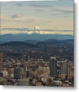 Mount Hood View Over Portland Cityscape Metal Print