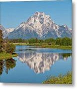 Mount Moran On Snake River Landscape Metal Print