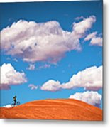 Mountain Biker Climbing On Slick Rock Metal Print