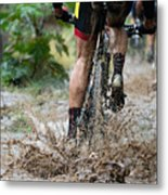 Mountain Bikers Driving In Rain Metal Print