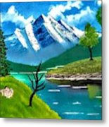 Mountain By The Lake Metal Print