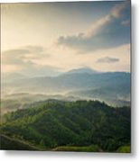 Mountains Under Mist In The Morning In Metal Print