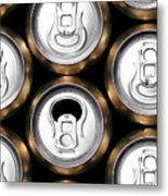 Much Of Yellow Drinking Cans Close Up Metal Print