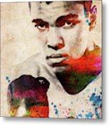 Muhammad Ali Watercolor Portrait Metal Print