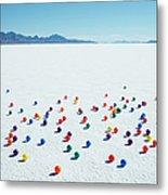 Multi-colored Balls On Salt Flats Metal Print