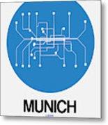 Munich Blue Subway Map Metal Print