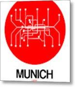 Munich Red Subway Map Metal Print