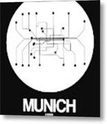 Munich White Subway Map Metal Print