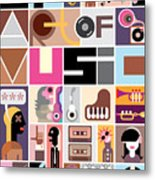 Musical Collage Of Various Images - Metal Print