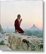 Myanmar, Bagan, Buddhist Monk Praying Metal Print
