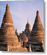 Myanmar, Bagan, Buddhist Monks On Temple Metal Print