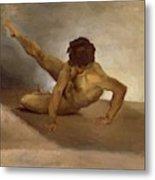 Naked Man Reversed On The Ground Metal Print