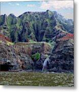 Napali Cave And Waterfall Metal Print