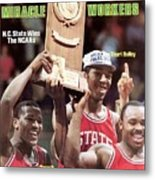 Nc State Dereck Whittenburg, Thurl Bailey, And Sidney Lowe Sports Illustrated Cover Metal Print