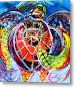 Neon Sea Turtle Wake And Drag Metal Print