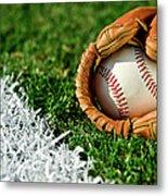 New Baseball In Glove Along Foul Line Metal Print
