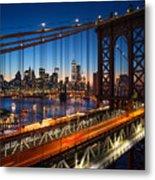 New York City - Beautiful Sunset Over Metal Print