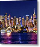 New York City Nyc Midtown Manhattan At Night Metal Print