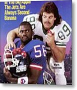 New York Giants Lawrence Taylor And New York Jets Mark Sports Illustrated Cover Metal Print