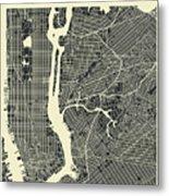New York Map 3 Metal Print