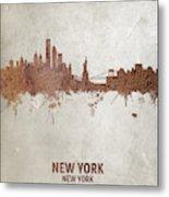 New York Rust Skyline Metal Print