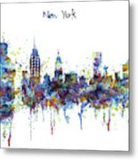 New York Watercolor Skyline Metal Print