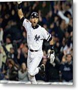 New York Yankees Derek Jeter Celebrates Metal Print