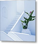 Nice White Stairs In Oia Village Metal Print