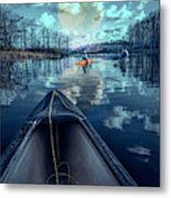 Night Blues Reflections  Metal Print