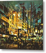 Night Scene Cityscape,abstract Art Metal Print