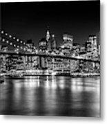 Night Skyline Manhattan Brooklyn Bridge Bw Metal Print
