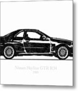Nissan Skyline Gt-r R34 1989 Black And White Illustration Metal Print