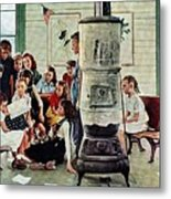 Norman Rockwell Visits A Country School Metal Print