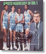 North Carolina Coach Dean Smith And Team Sports Illustrated Cover Metal Print