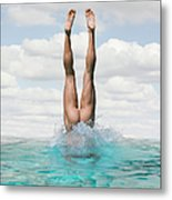 Nude Man Diving Metal Print