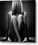 Nude Woman With Hidden Face Metal Print
