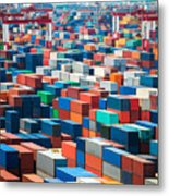 Numerous Shipping Containers In Port Metal Print