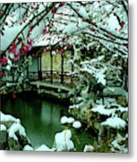 Ny Chinese Scholars Garden, Spring Snow Metal Print