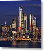 Nyc Sundown Gold And Twilight Skies Metal Print