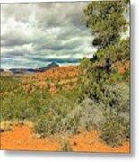 Oak Creek Baldwin Trail Blue Sky Clouds Red Rocks Scrub Vegetation Tree 0249 Metal Print