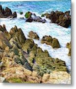 Ocean Rocks in Puerto Vallarta Mexico Metal Print