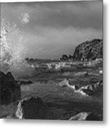 Ocean Splash In Black And White Metal Print