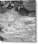 Ocean Wave Splash In Black And White Metal Print