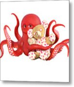 Octopus Red With Bear Metal Print
