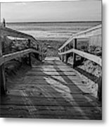 Ogunquit Beach Footbridge At Sunrise Ogunquit Maine Black And White Metal Print