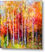 Oil Painting Landscape, Colorful Autumn Metal Print